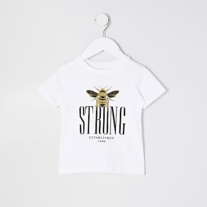 Mini boys white 'Bee Strong' t-shirt