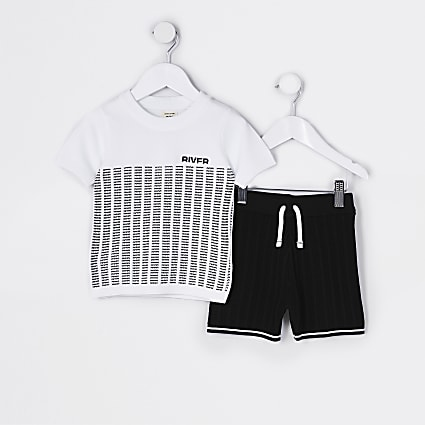 Mini boys white block stripe knit set