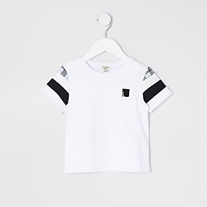 Mini boys white blocked check sleeve t-shirt
