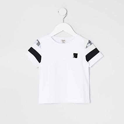 Mini boys white blocked check sleeve t-shirt