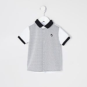 Mini boys white blocked short sleeve shirt