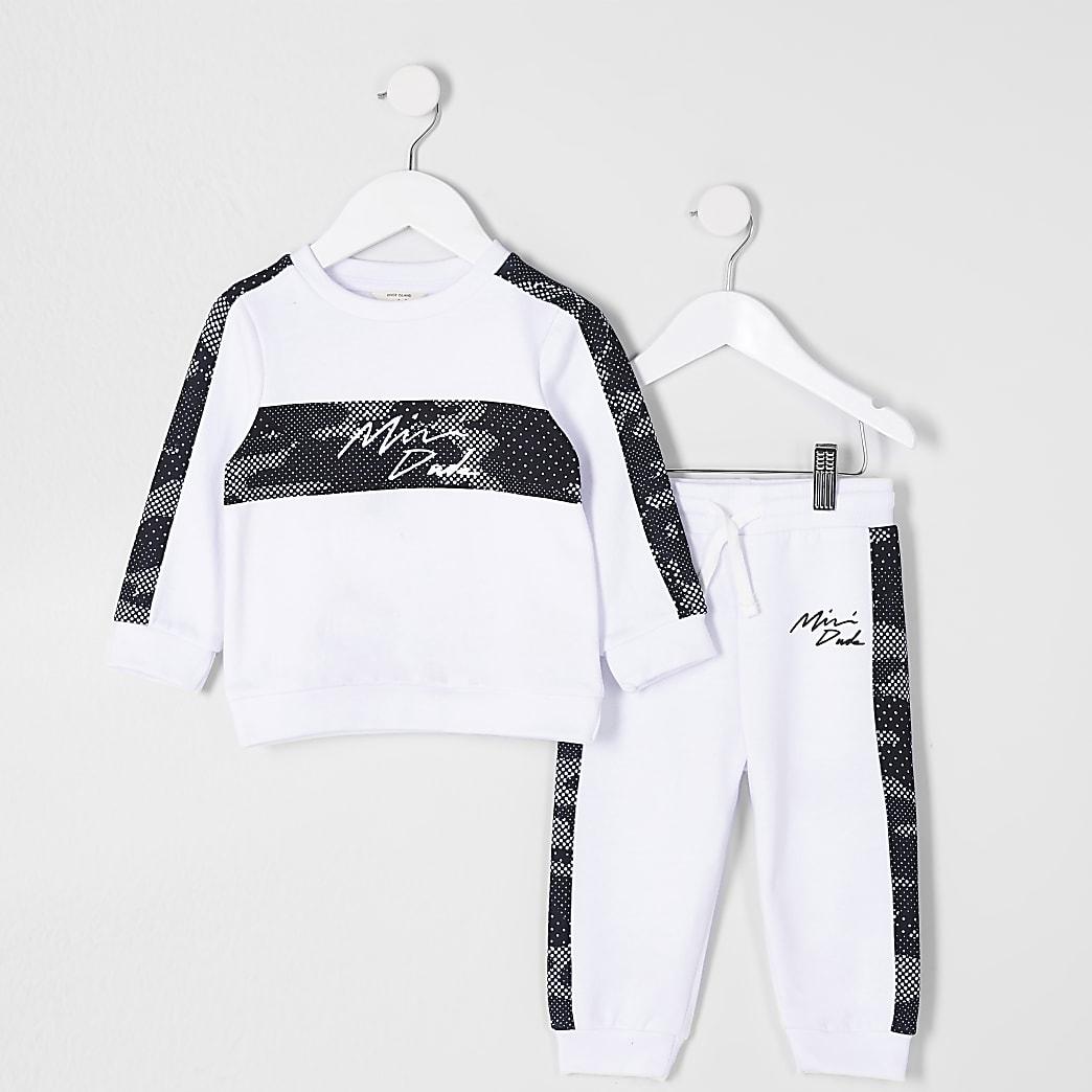 Mini boys white camo taped tracksuit