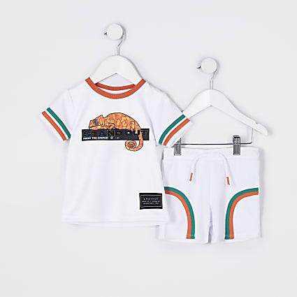 Mini boys white chameleon mesh shorts set