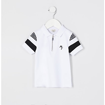 Mini boys white check block polo shirt