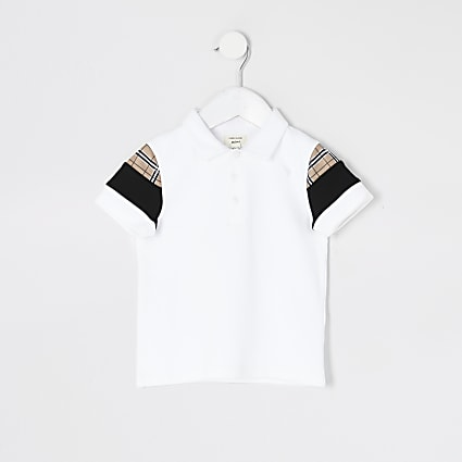 Mini boys white check blocked polo shirt