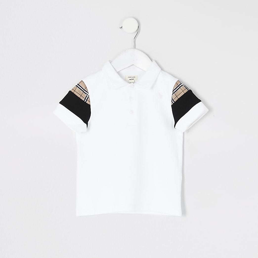 Mini boys white check blocked polo shirt