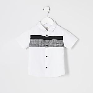 Mini – Weiß kariertes Popeline-Hemd in Blockfarben für Jungen