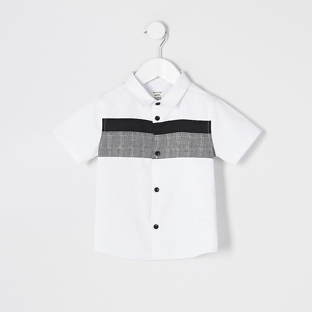 Mini boys white check blocked poplin shirt