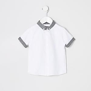 Mini boys white check button collar shirt