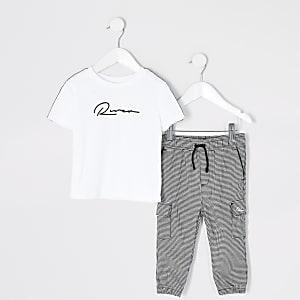 Tenue avec t-shirt à bande à carreaux blanc Mini garçon