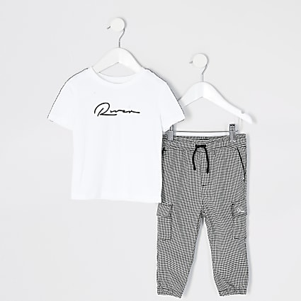 Mini boys white check tape t-shirt outfit