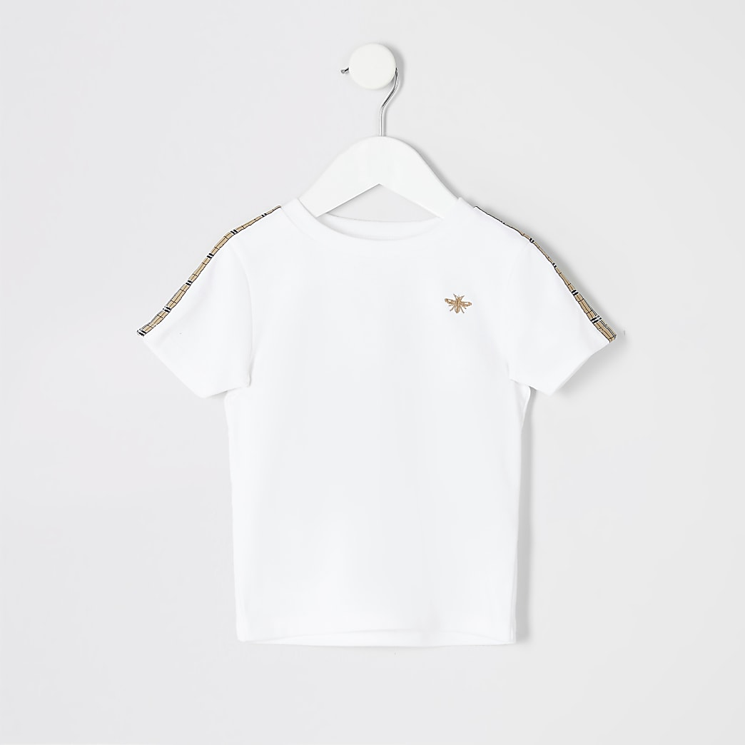 Mini boys white check tape T-shirt