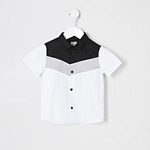 Mini - Wit overhemd met chevron kleurvlakken voor jongens