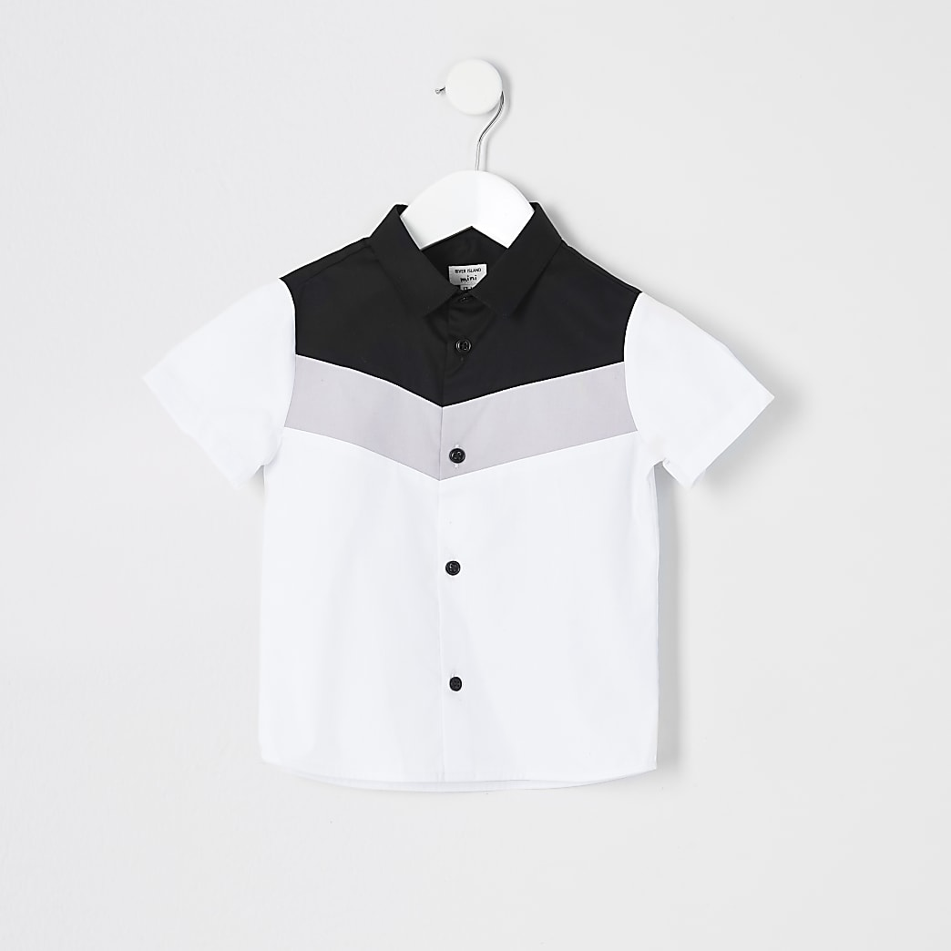 Mini boys white chevron colour block shirt