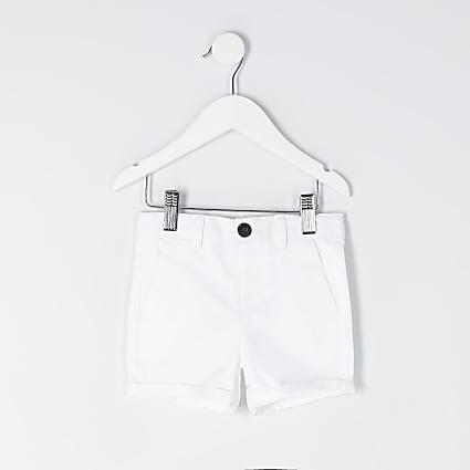 Mini boys white chino shorts