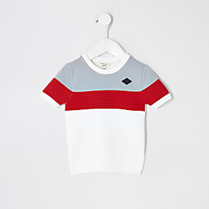 Mini Boys White Colour Blocked Knitted Tee