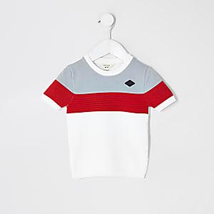 Mini - Wit gebreid T-shirt met kleurblokken voor jongens