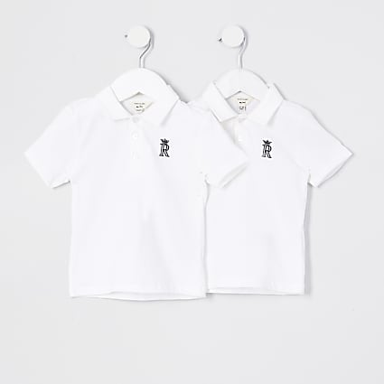Mini boys white crown 2 pack polos