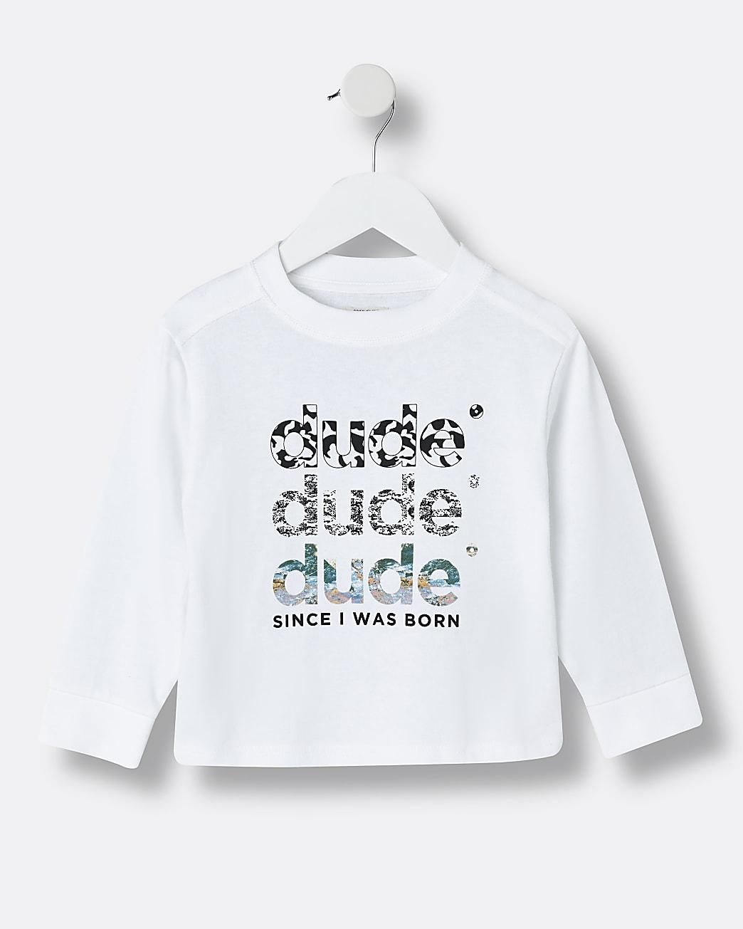Mini boys white 'Dude' back print top