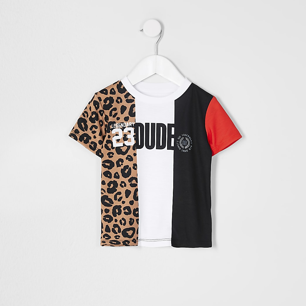 Mini boys white 'Dude' spliced t-shirt