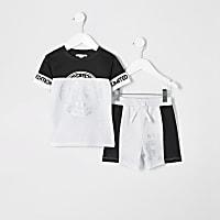 Mini boys white foil print mesh shorts outfit