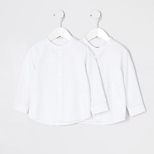 Mini - Set van2 witte overhemden zonder kraag voor jongens
