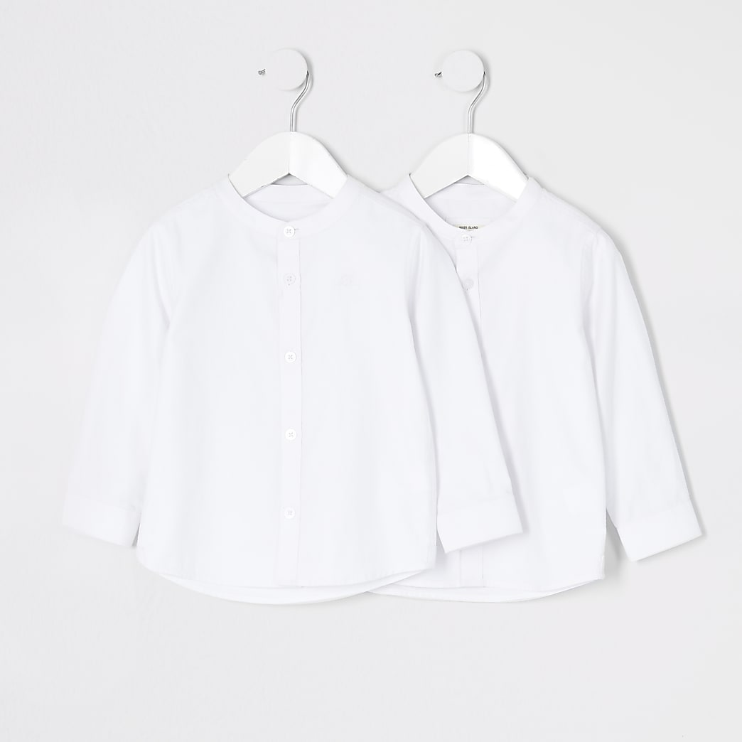 Mini boys white grandad collar shirt 2 pack