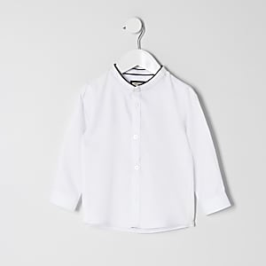 Chemise blanche à col grand-père Mini garçon