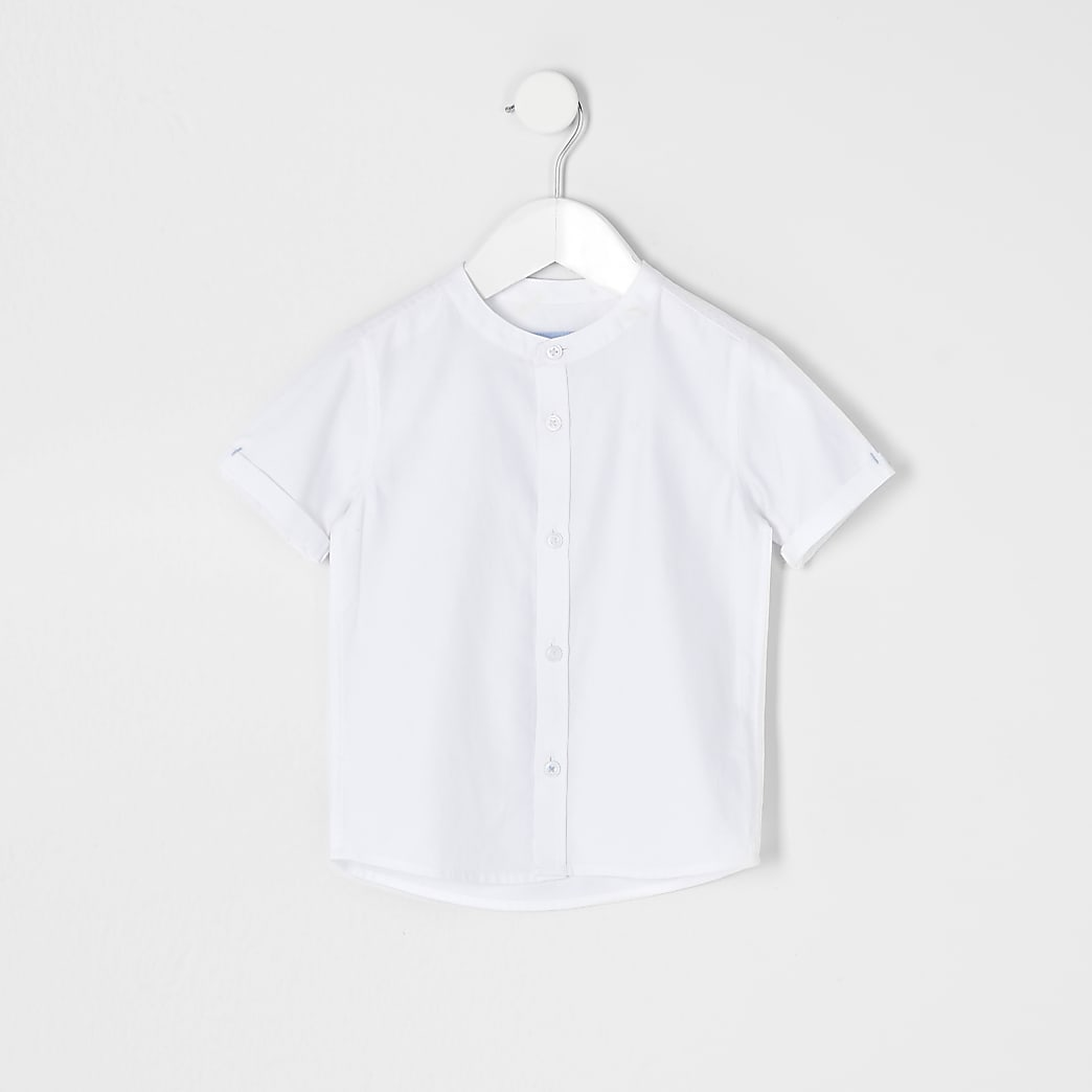 Mini boys white grandad collar twill shirt
