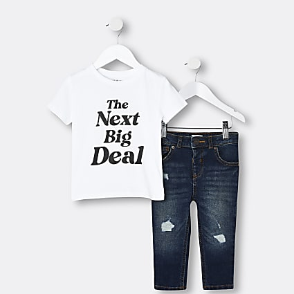 Mini boys white graphic t-shirt and jeans set