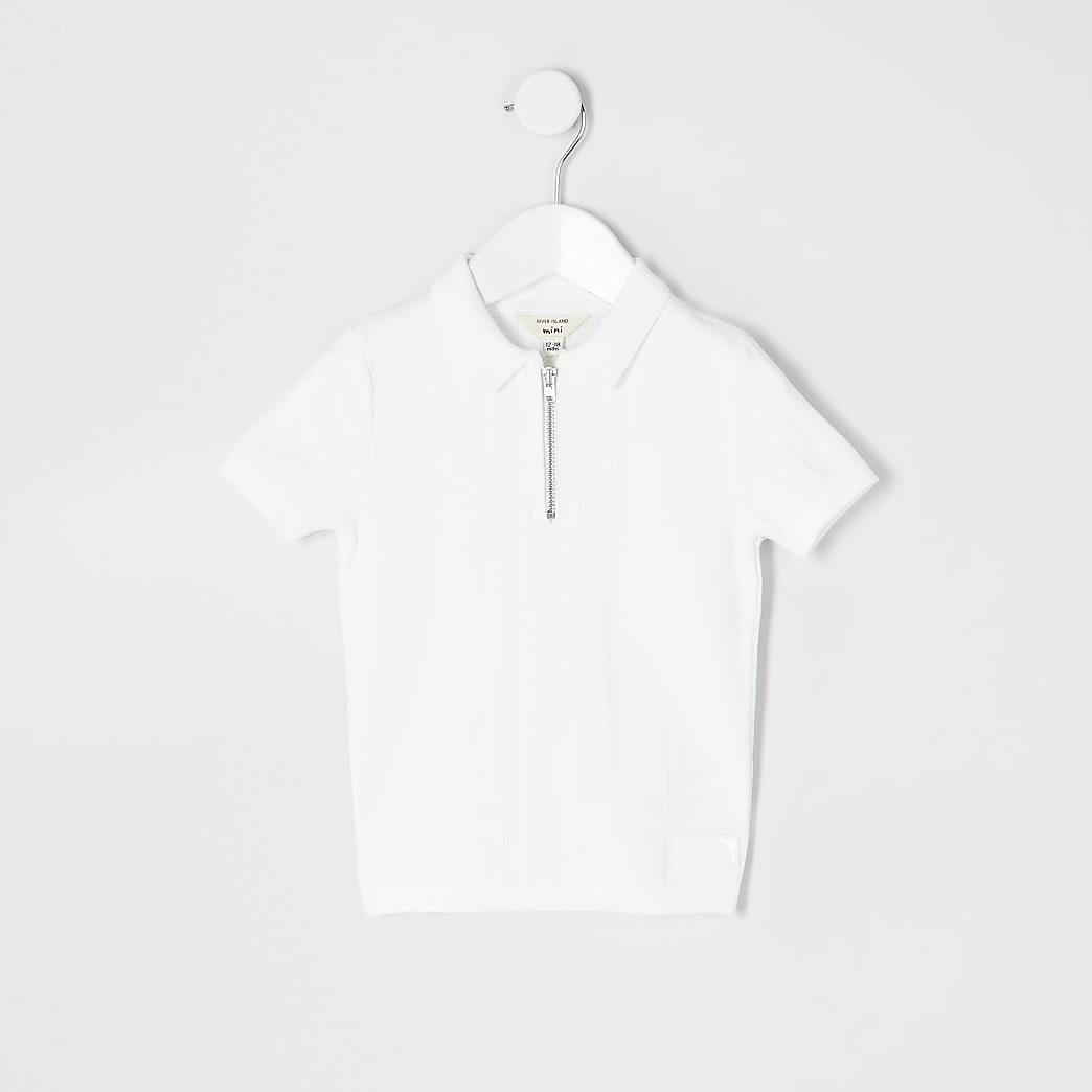 Mini -Wit gebreid poloshirt met halve rits voor jongens