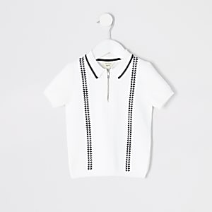 Mini – Weißes Strick-Poloshirt mit kurzem Reißverschluss