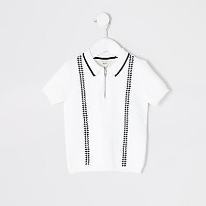 Mini boys white half zip knitted polo top