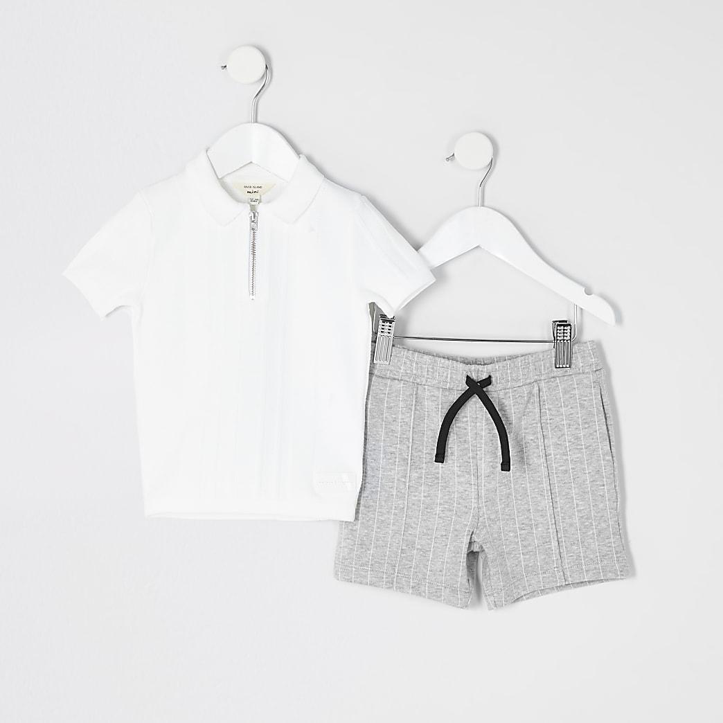 Mini - Outfit met wit gebreid poloshirt voor jongens