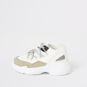 Mini - Witte stevige sneakersmet vetersluiting voor jongens
