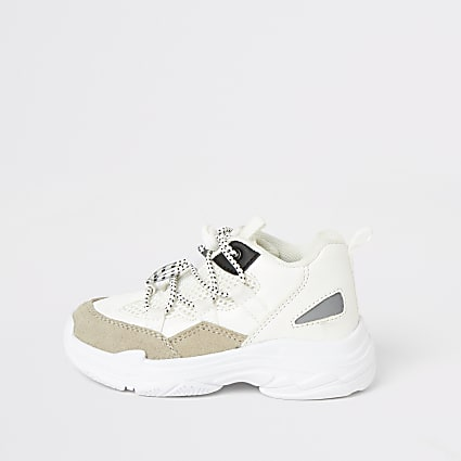 Mini boys white lace-up chunky trainers