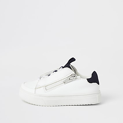 Mini boys white lace-up zip side trainers