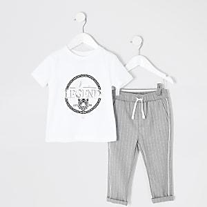 Mini - Wit T-shirt outfit met 'legend'-tekst voor jongens