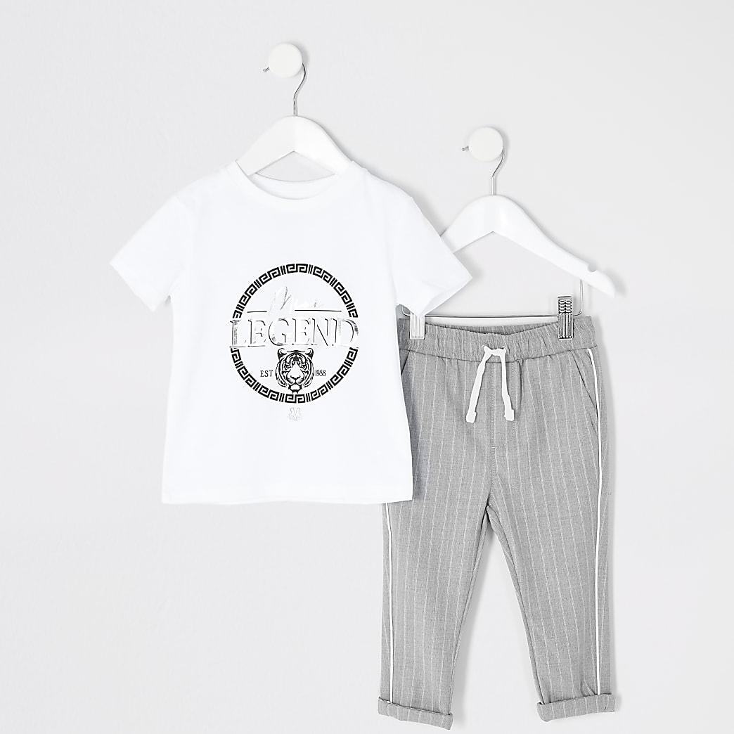 Mini boys white 'legend' T-shirt outfit