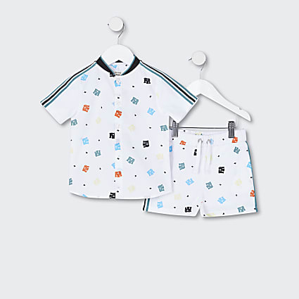 Mini boys white logo print shirt outfit