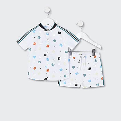 Mini boys white logo print shirt outfit