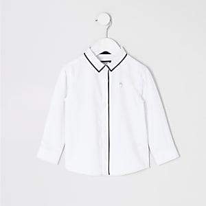 Langärmeliges, paspelliertes Hemd in Weiß für kleine Jungen