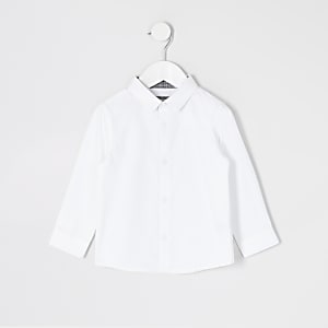 Mini boys white long sleeve R shirt