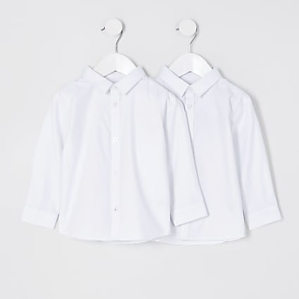 Mini boys white long sleeve shirt 2 pack