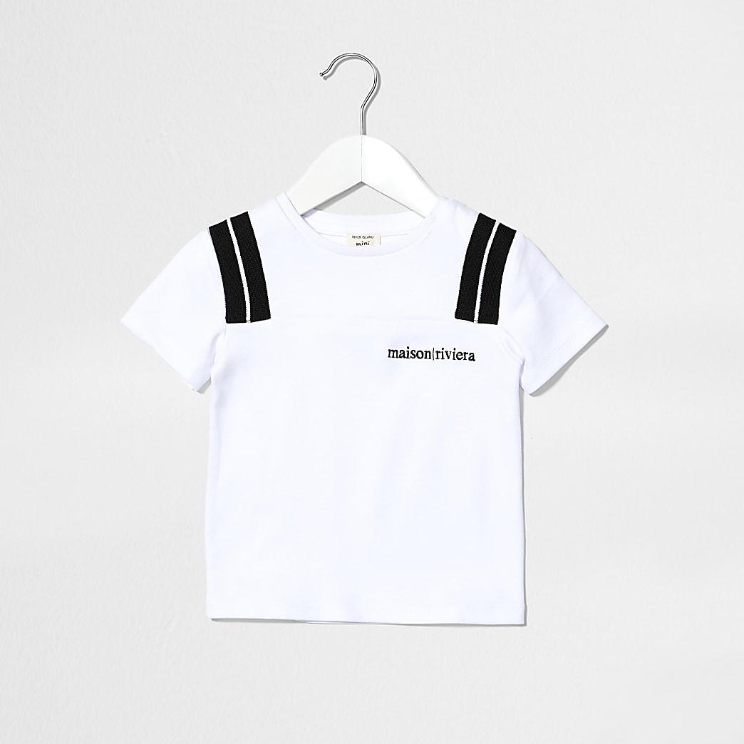 Mini boys white Maison Rivera print t-shirt