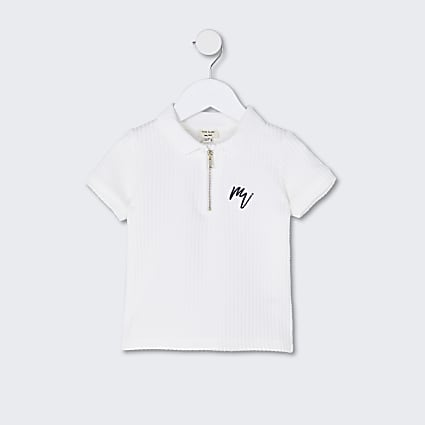 Mini boys white 'Maison Riviera' polo shirt