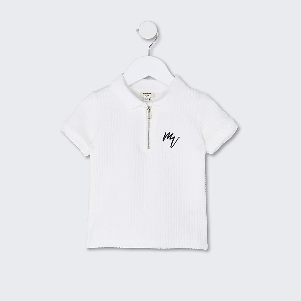 Mini boys white 'Maison Riviera' polo shirt