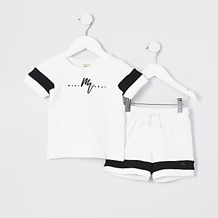 Mini Boys white Maison Riviera T-shirt set