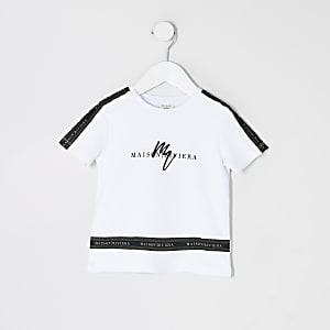 Mini boys white Maison Riviera tape T-shirt