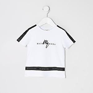 Maison Riviera - Wit T-shirt met bies voor mini-jongens